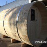 Barrel camping, barrel sauna